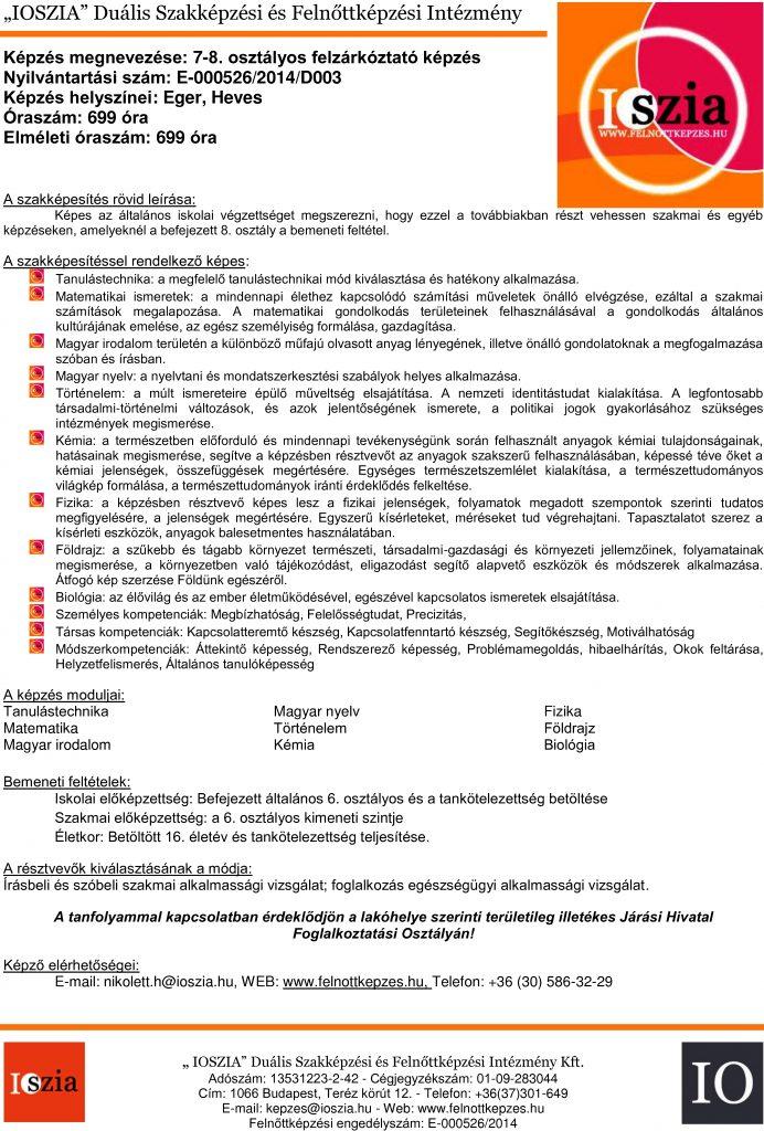 7-8. osztályos felzárkóztató - Eger - Heves - felnottkepzes.hu - Felnőttképzés - IOSZIA