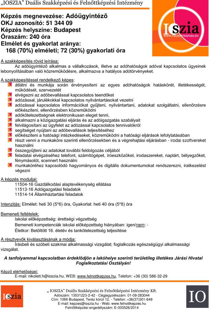 Adóügyintéző - budapest IOSZIA felnőttképzés