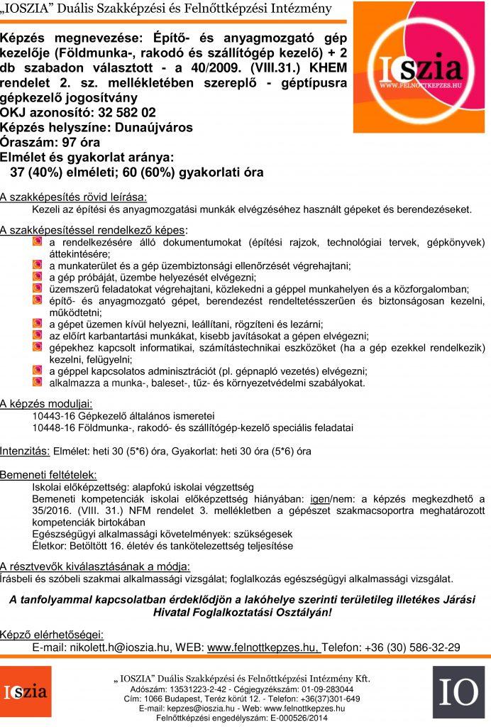 Építő- és anyagmozgató gép kezelője földmunka - Dunaújváros IOSZIA felnőttképzés