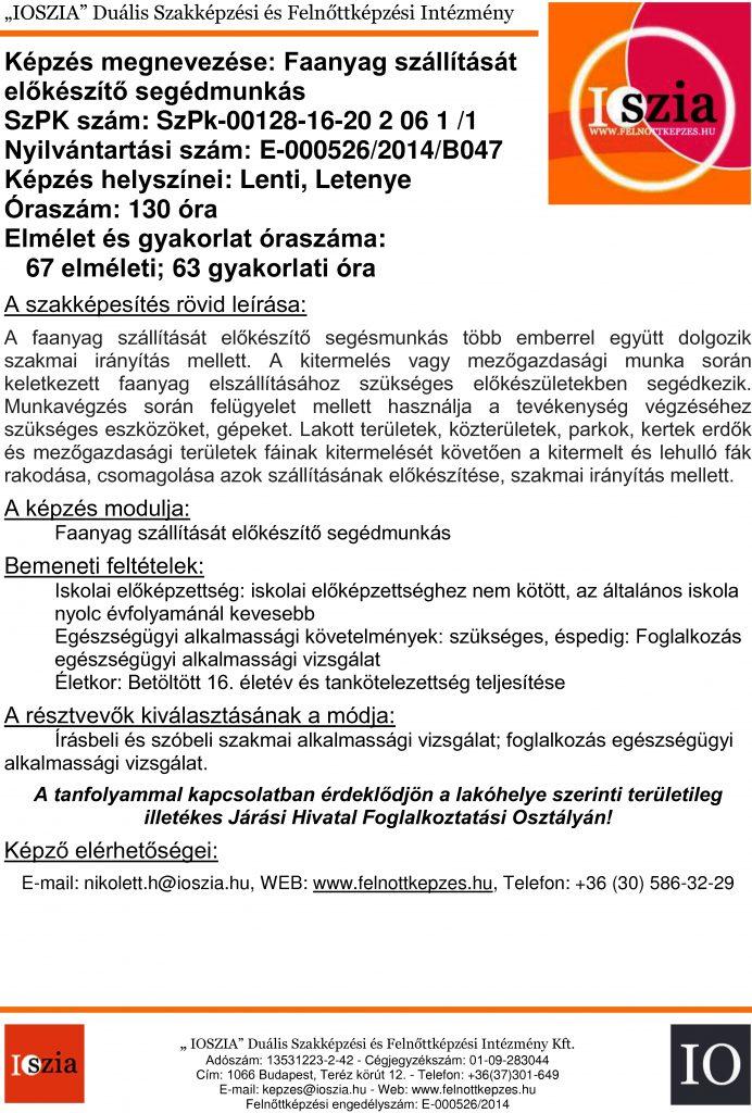 Faanyag szállítását előkészítő segédmunkás - Lenti - Letenye - felnottkepzes.hu - Felnőttképzés - IOSZIA