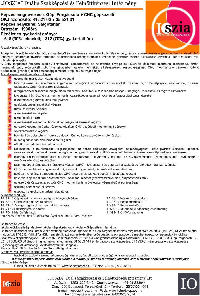 Gépi forgácsoló + CNC gépkezelő - Salgótarján - IOSZIA felnőttképzés