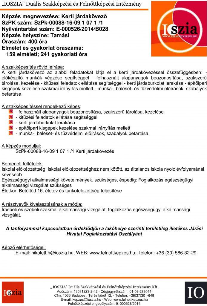 Kerti járdakövező - Tamási - felnottkepzes.hu - Felnőttképzés - IOSZIA