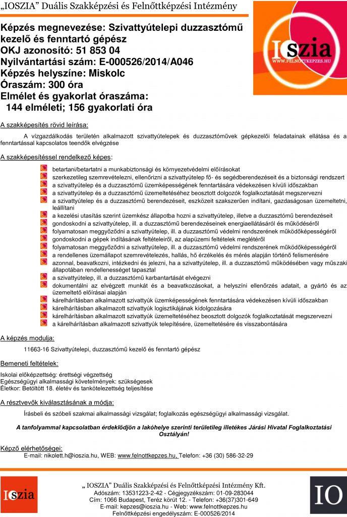Szivattyútelepi duzzasztómű kezelő és fenntartó gépész OKJ - Miskolc - felnottkepzes.hu - Felnőttképzés - IOSZIA