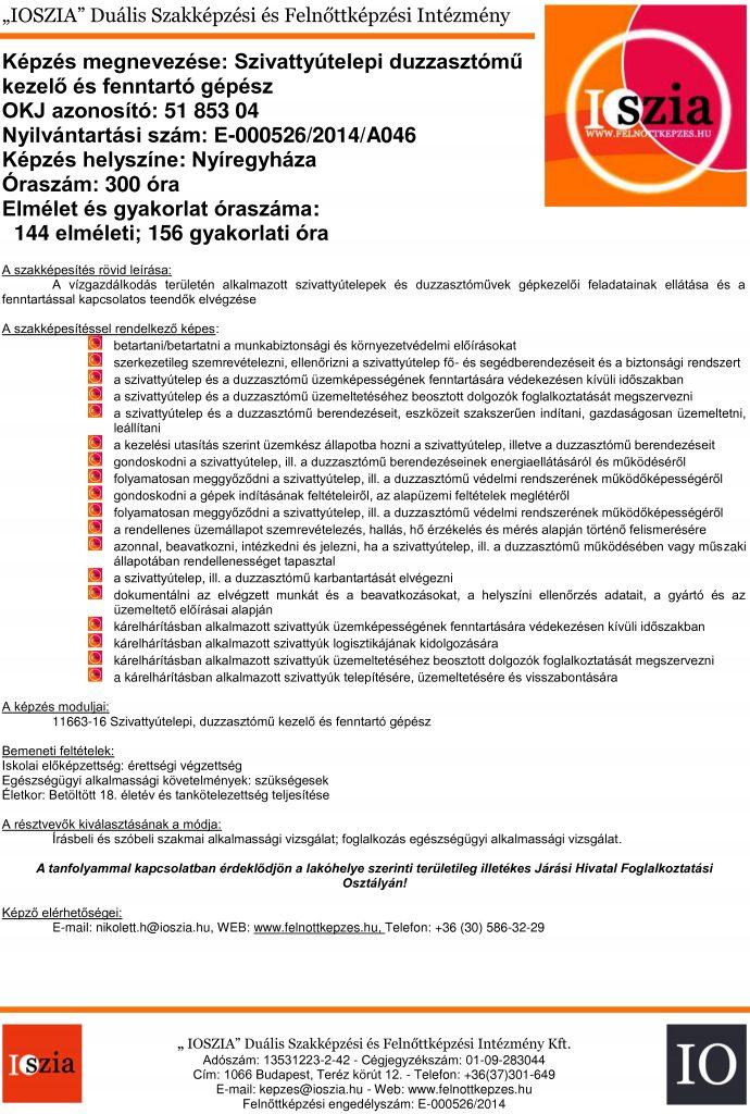 Szivattyútelepi duzzasztómű kezelő és fenntartó gépész OKJ - Nyíregyháza - felnottkepzes.hu - Felnőttképzés - IOSZIA
