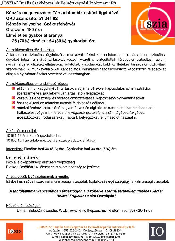 Társadalombiztosítási ügyintéző - Székesfehérvár - IOSZIA felnőttképzés