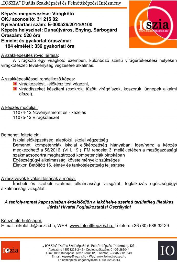 Virágkötő OKJ - Dunaújváros - Enying - Sárbogárd - felnottkepzes.hu - Felnőttképzés - IOSZIA