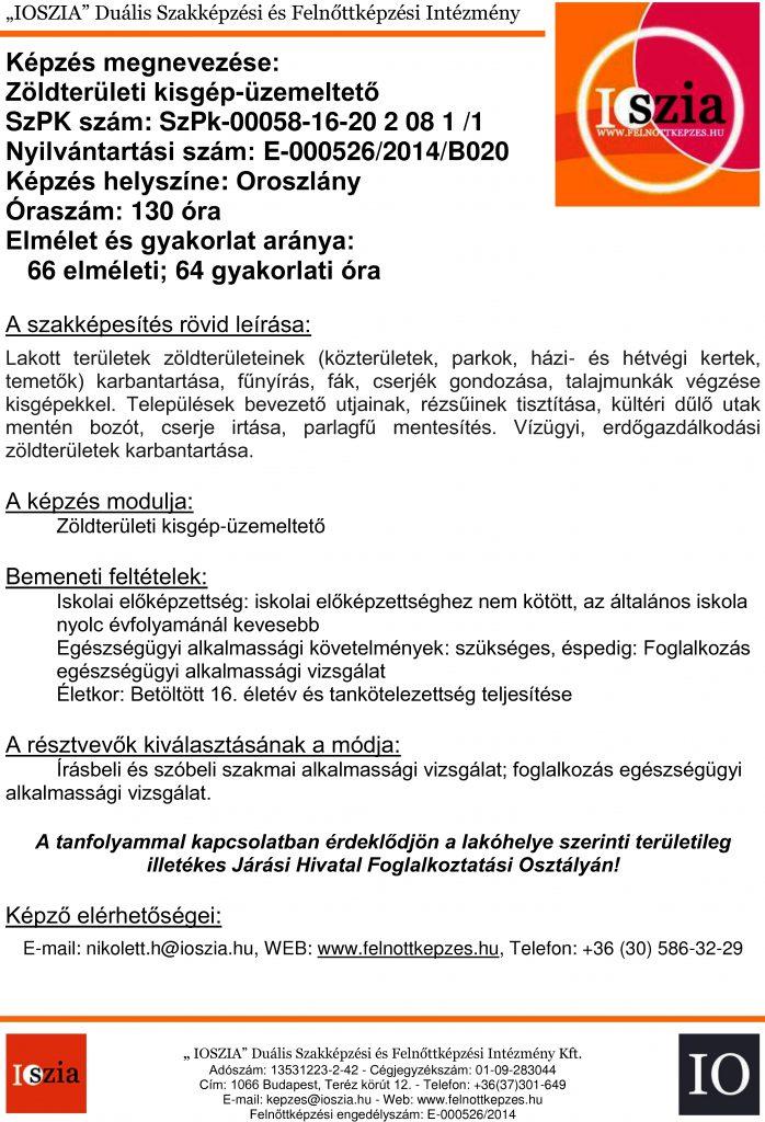 Zöldterületi kisgép-üzemeltető - Oroszlány - felnottkepzes.hu - Felnőttképzés - IOSZIA